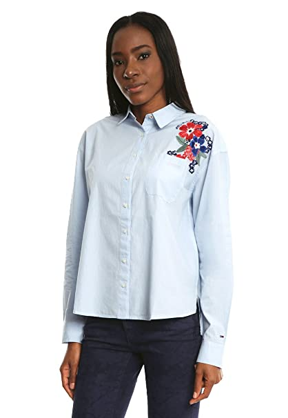 Tommy Jeans Mujer MULTI STRIPE SHIRT L/S 41 Camisa Manga Larga ancho Blanco (Chambray Blue/bright White) Medium: Amazon.es: Ropa y accesorios