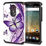 FINCIBO Case Compatible with ZTE N817 Quest Uhura, Dual Layer Hard Back Hybrid Protector Case Cover Anti Shock TPU for Quest Uhura - Purple Butterfly (Style 2)