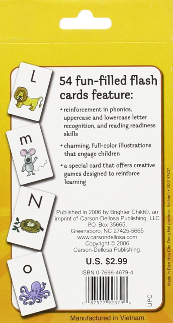 amazon com alphabet flash cards brighter child flash cards