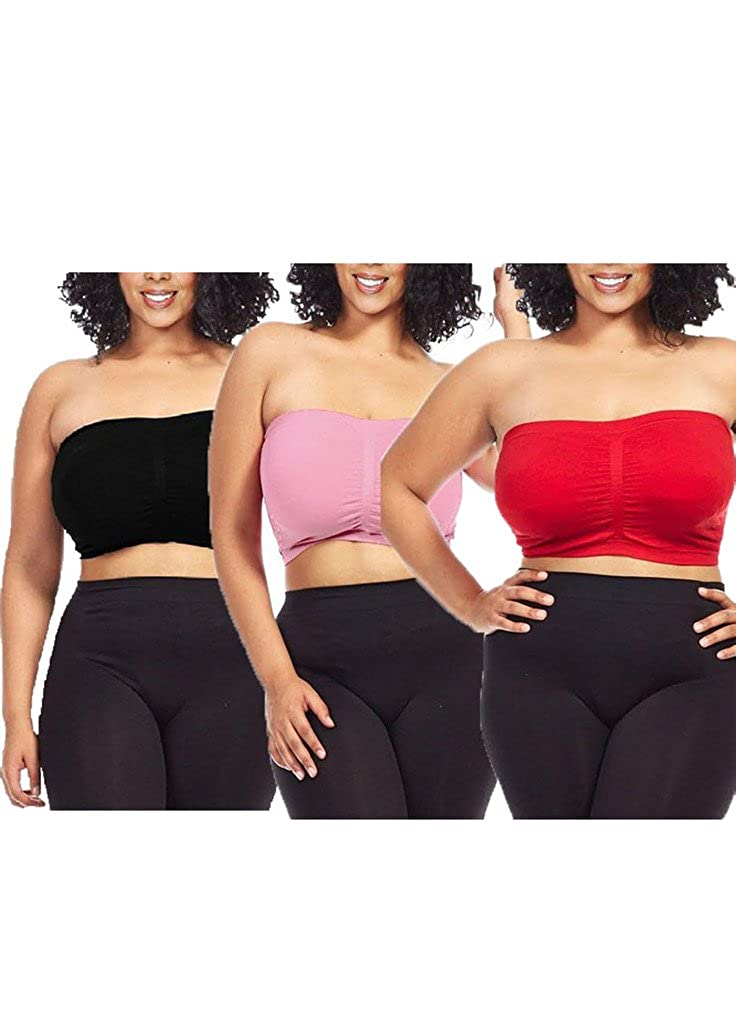 Dinamit Fashion 3-Pack Plus Size Seamless Strapless Bandeau Tube Top Bra CA-3PACK-3011-pp