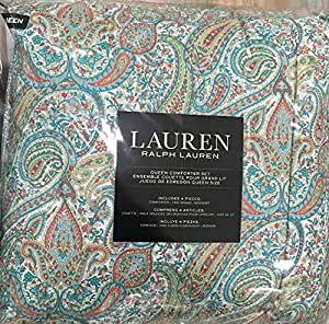 Amazon Com Ralph Lauren Queen Comforter Set Blue Green