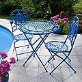 Plant Theatre Biarritz Bistro Set, Garden Patio Table & Chairs in Azure Blue