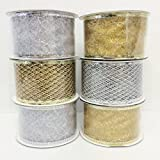 4 Rolls Assorted Patterns Classic Christmas Decorations Ribbons (2''W x 9FT Each) , Gold/Silver