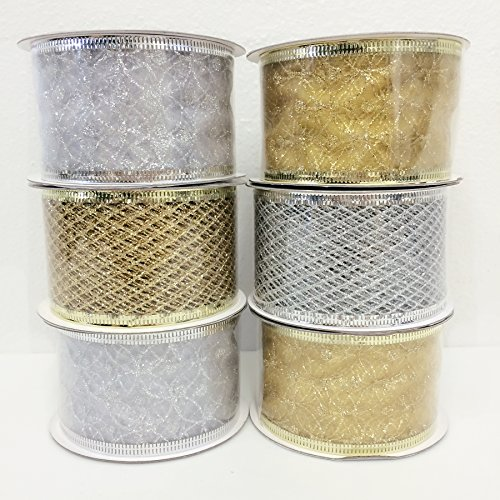 4 Rolls Assorted Patterns Classic Christmas Decorations Ribbons (2''W x 9FT Each) , Gold/Silver by Christmas Elegance
