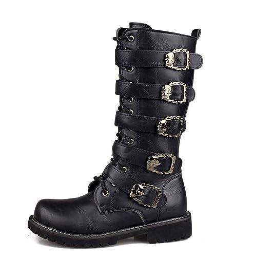 Punk Style - Botas de Cuero sintético para Hombre Negro Negro 39 EU   Amazon.es  Zapatos y complementos 4bbf51d1d8e