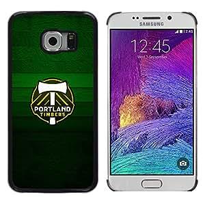 Portland Timber - Metal de aluminio y de plástico duro Caja del teléfono - Negro - Samsung Galaxy S6 EDGE (NOT S6)