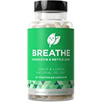Breathe Sinus & Lungs Breathing - Fast-Acting Strength, Seasonal Nasal Protection, Tight Chest, Bronchial Wellness - Non-Drowsy Formula with Quercetin & Nettle Leaf - 60 Vegetarian Soft Capsules