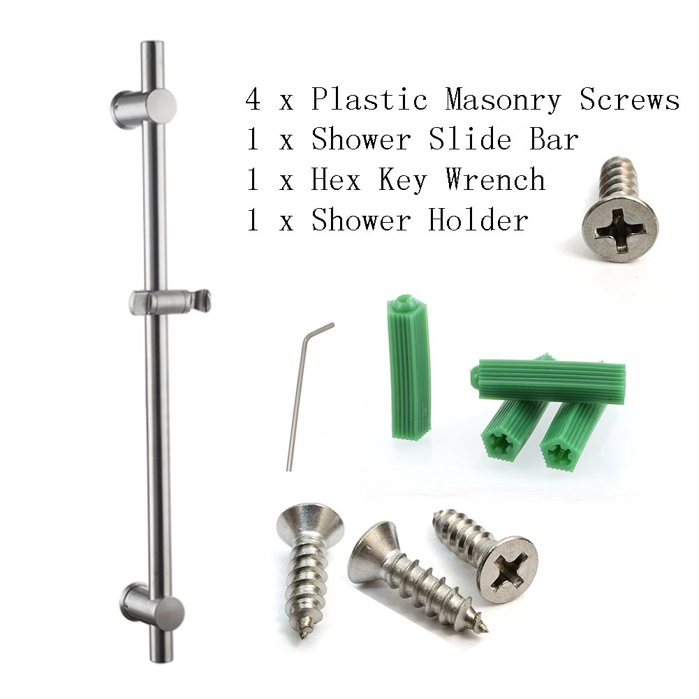 Neady Shower Slider Bar 26 Inch Stainless Steel Brushed Nickel Lead-Free Handheld Shower Heads' Assister Adjustable Shower Arms & Slide Bars Wall Mounting Hardware Showerhead Holder by Neady (Image #3)