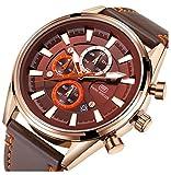 Men's Fitness Watch Men Quartz Clock 6 Hands 24Hr Date Display Leather Strap Classic Business Wristwatch (Brown)