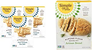 product image for Simple Mills Almond Flour Crackers, Fine Ground Sea Salt, Gluten Free, Flax Seed, Sunflower Seeds, Corn Free, 3 Count & Almond Flour Baking Mix, Gluten Free Artisan Bread Mix, Made with whole foods