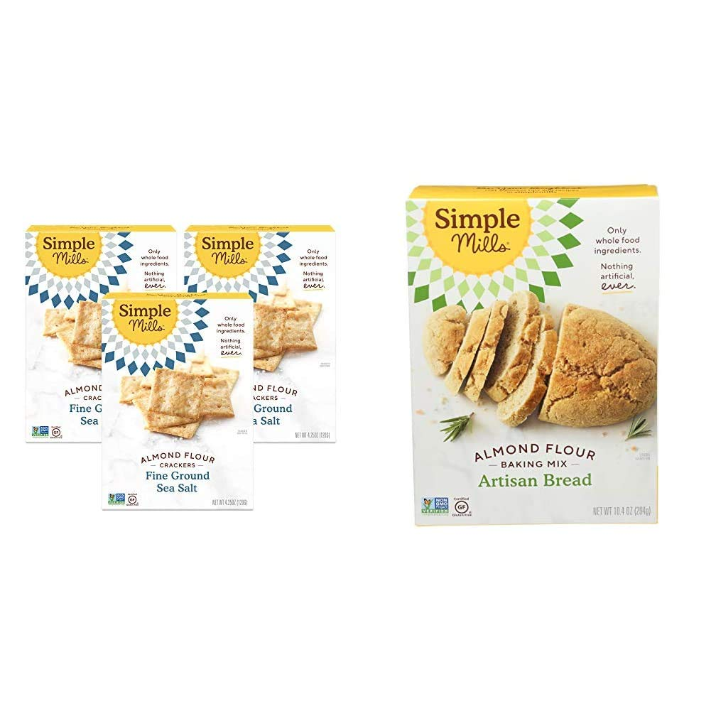 Simple Mills Almond Flour Crackers, Fine Ground Sea Salt, Gluten Free, Flax Seed, Sunflower Seeds, Corn Free, 3 Count & Almond Flour Baking Mix, Gluten Free Artisan Bread Mix, Made with whole foods