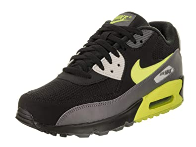 3e95c1e2f209 Nike Mens Air Max 90 Essential Running Shoes Dark Grey Volt Black Bone