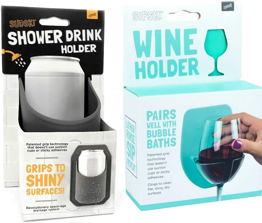 30 Watt The Original SUDSKI & SIPSKI | Portable Shower Drink Cup Holder for All Canned Beer & Wine | Patented Silicone Drink Holders Grips Any Shiny Bath Surface