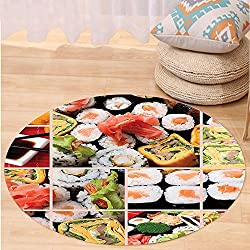 Kisscase Custom carpetJapanese Cuisine Asian Sushi Fish Raw Meat Rolls South East Fast Food Ceremony Artwork for Bedroom Living Room Dorm Multicolor