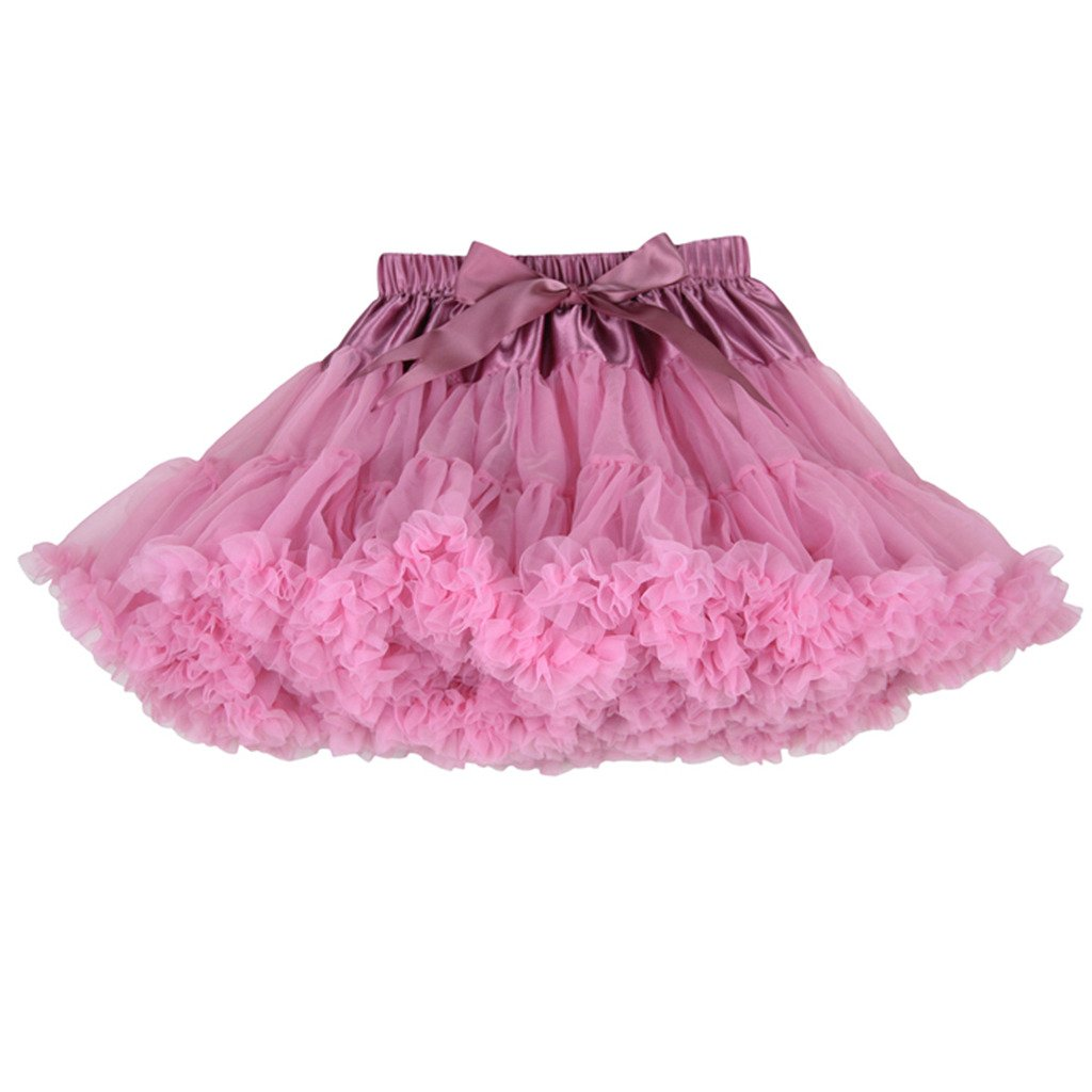 Buenos Ninos Girl's Solid Color Dance Tutu Pettiskirt Bean Pink 1-2T/80