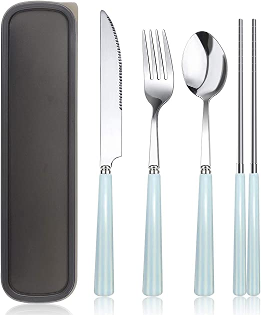 Stainless steel Fork  Spoon Set with Ceramic Handle and Carrying Case for Kids