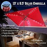 BenefitUSA 10'x6.5′ Solar Patio Umbrella 26 LED Lighted Outdoor Garden Rectangle Sunshade Tilt Crank-BURGUNDY For Sale
