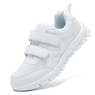 on sale ec271 003b2 LakeRom Girls Shoes for Kids Boys Sneakers School Uniform White Shoes  Casual Sport ShoesLRBX008-WhiteM
