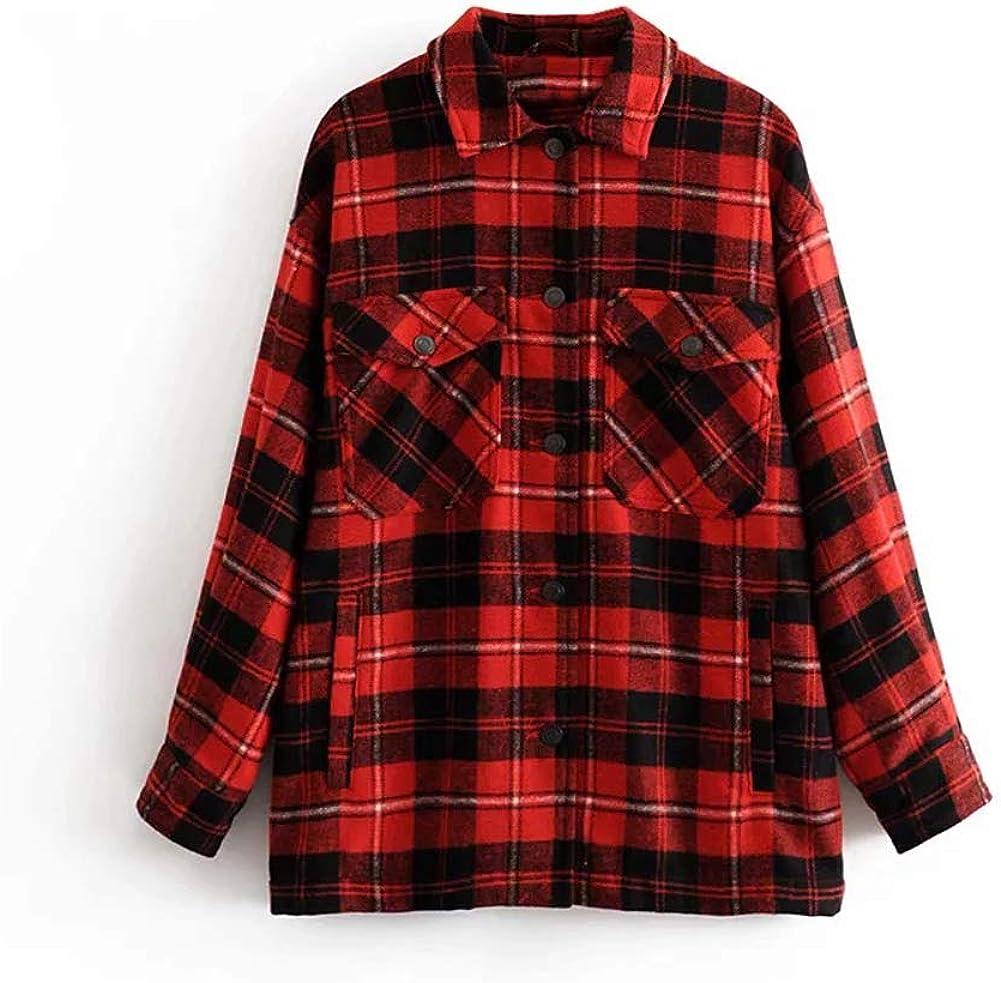 ORANDESIGNE Kariertes Taschen Kn/öpfen Langarm Oversize Bluse Mantel Hemdjacke Holzf/ällerjacke Damen Mode