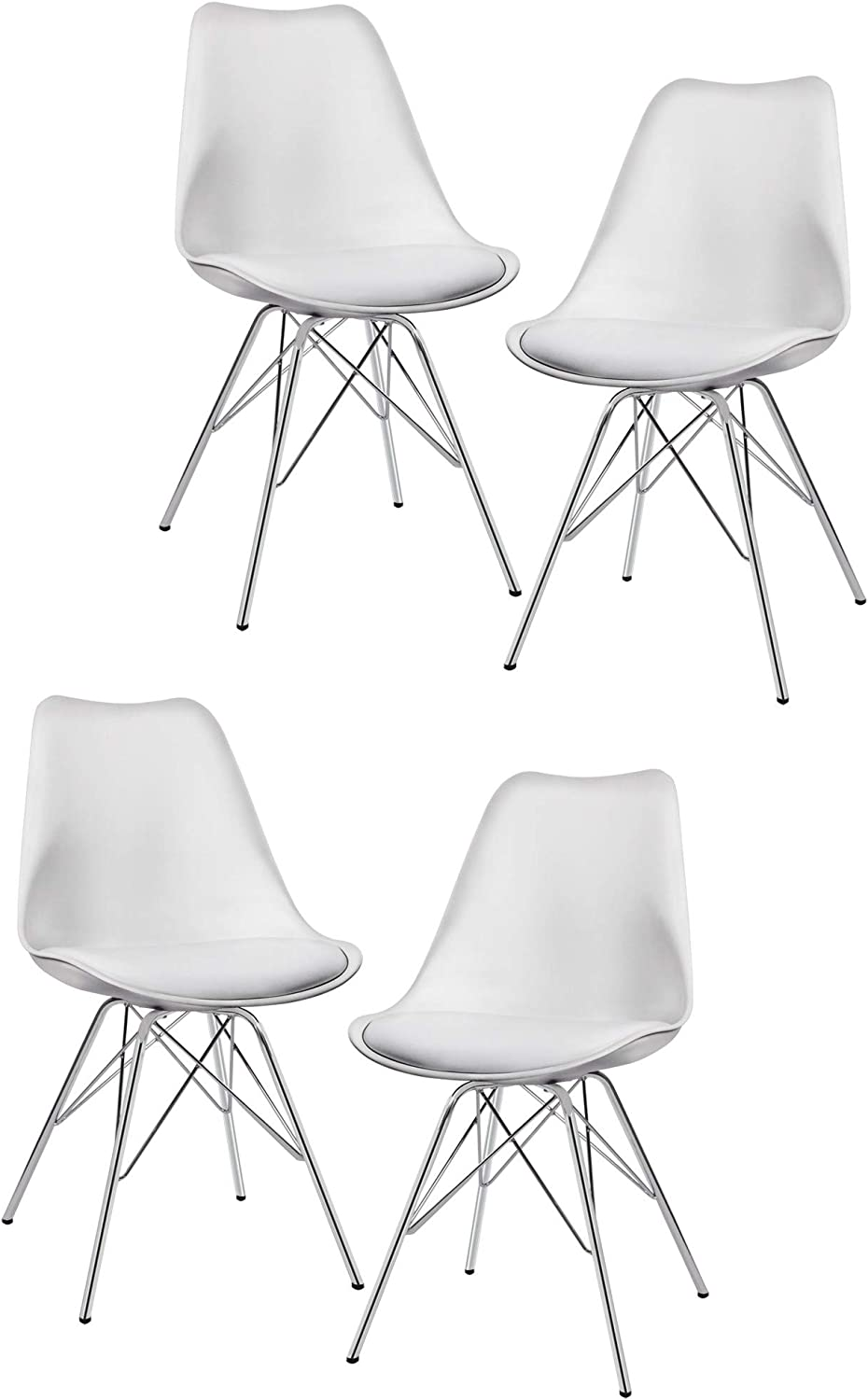 Duhome Dining Chairs Set of 4 White Plastic Chairs with Faux Leather Seat Cushion Retro Design 518J
