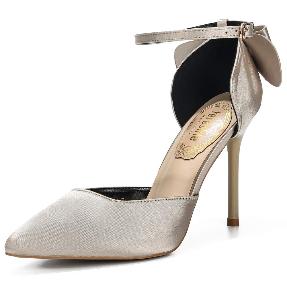 Satin Champagne gold fereshte Women's D'Orsay Dress Pumps Pointy Toe Stiletto High Heels with Bowknot
