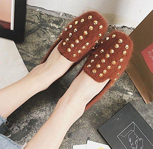 peluche e color rivetti caramel cashmere da di con cucchiai donna da scarpe fagioli confortevole Scarpe donna più di stivali scarpe fondo morbido q4XOR81x