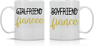Boyfriend/Fiance - Girlfriend/Fiancee - 11oz White Ceramic Coffee Mug Couples Sets - Funny His & Her Gifts - Bridal Shower or Bachelorette Party Gift - Wedding or Engagement Ideas