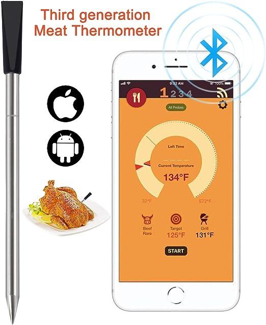 Tooklanet nuevo termómetro de carne inalámbrico para horno ...