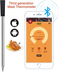 Tooklanet nuevo termómetro de carne inalámbrico para horno parrilla cocina parrilla de barbacoa Conéctese a Bluetooth con su smartphone o tableta. Para iOS, Android: Amazon.es: Hogar