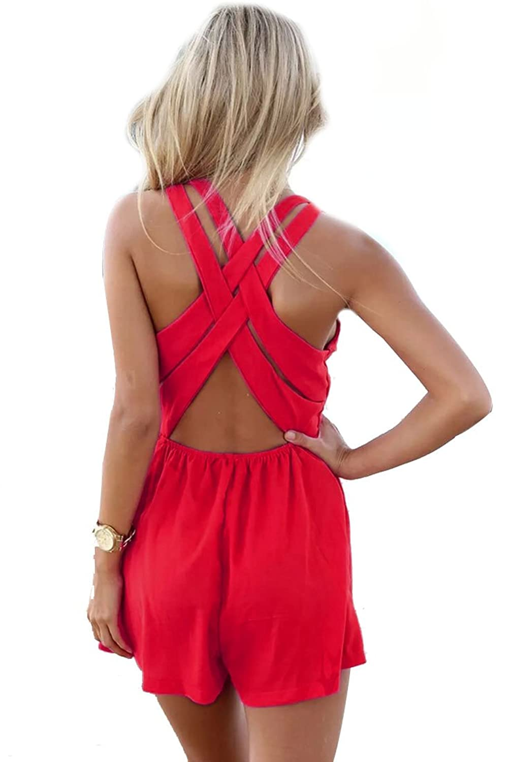 ACHICGIRL Womens Fabulous Cutout Strappy Rompers, Hot Pink, Medium