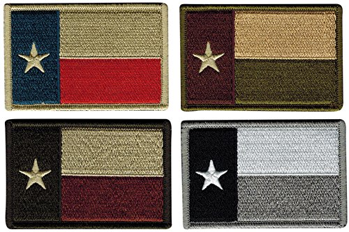 - Bundle of 4 Texas Tactical Flag Patches, Multi-Colored, by JAS Drapery