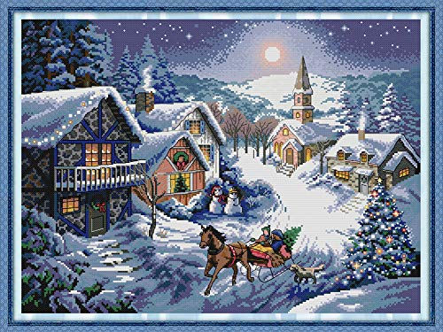 YEESAM ART New Cross Stitch Kits Advanced Patterns for Beginners Kids Adults - Christmas Tree Snowman Snow Town - DIY Needlework Wedding Christmas Gifts (Snowman, Stamped)