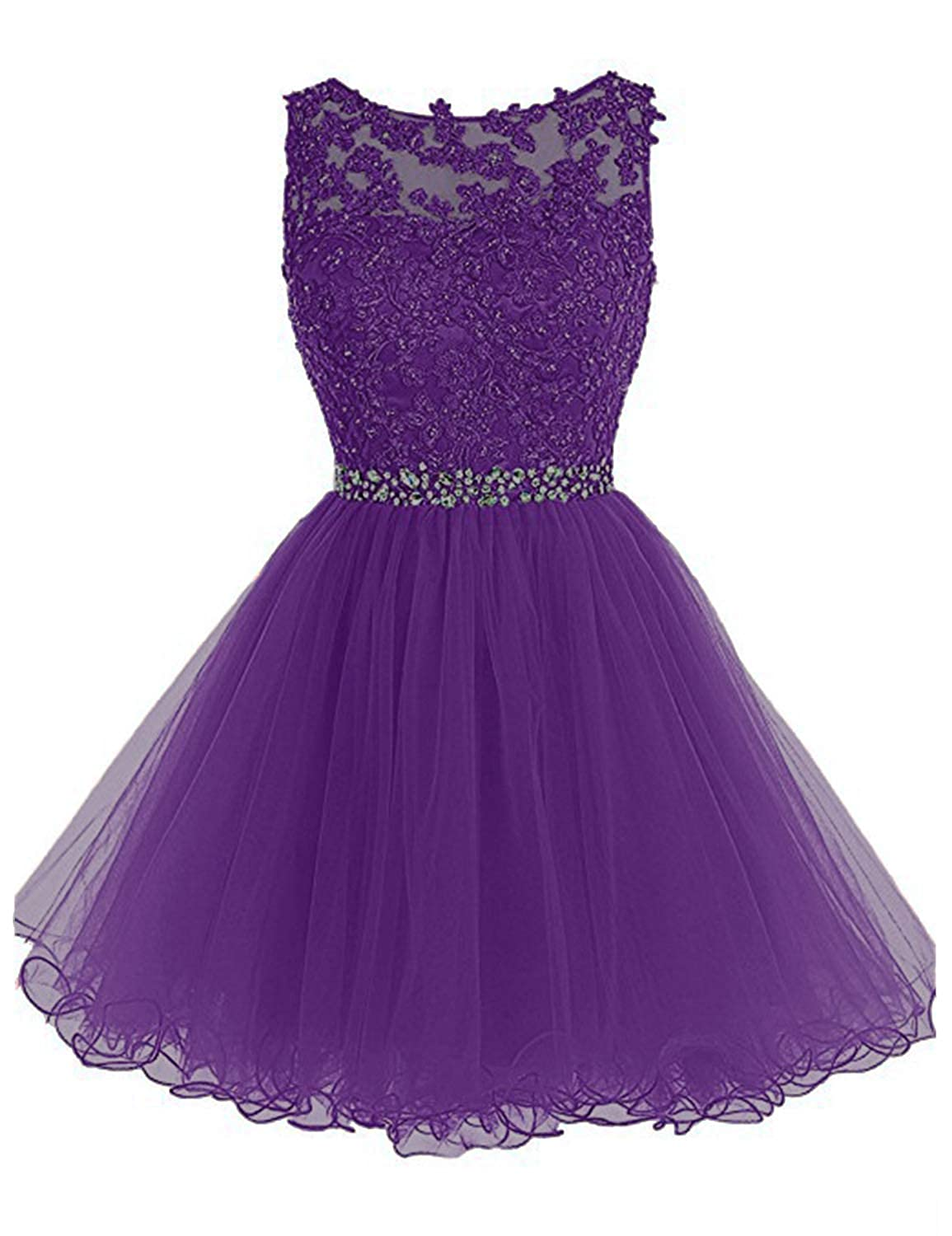 0 Purple 2 Vimans Women's Short Tulle Homecoming Dresses 2018 Knee Length Lace Prom Gowns Dress448
