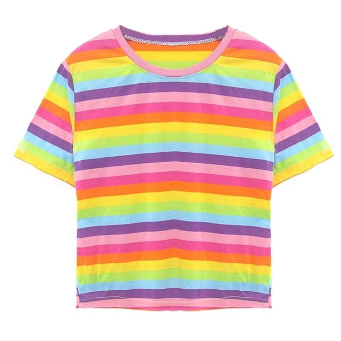 Familizo Manga Iris Corta Mujer Camisetas Arco Yfgyb76vI