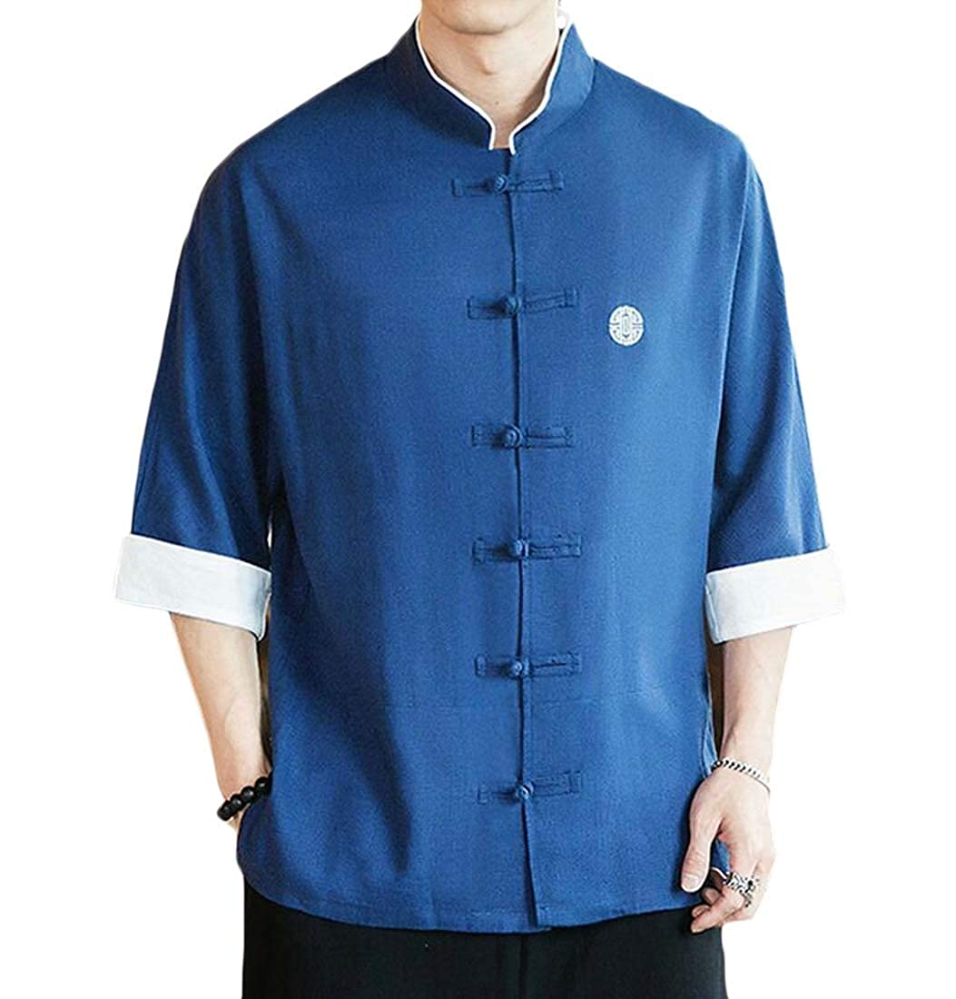 Sweatwater Mens Vintage Short Sleeve Linen Button Down Casual Shirts