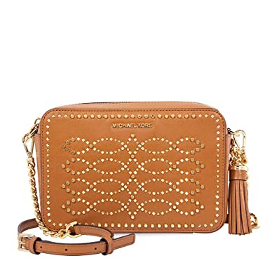 58cdf887d109 Image Unavailable. Image not available for. Color: Michael Kors Ginny  Medium Studded Leather Crossbody- Acorn