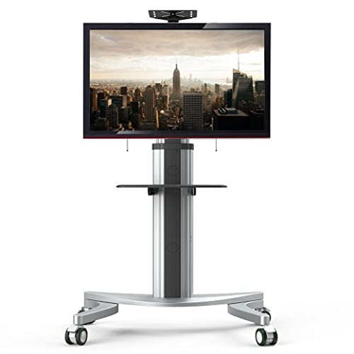 Oulii Portable Tv Stand Mobile Tv Stand With Wheels And Glass Shelf