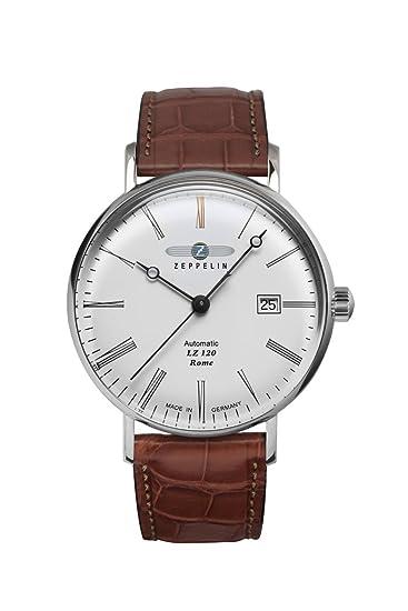 Zeppelin – Reloj de pulsera analógico automático para hombre One Size, Blanco, Marrón