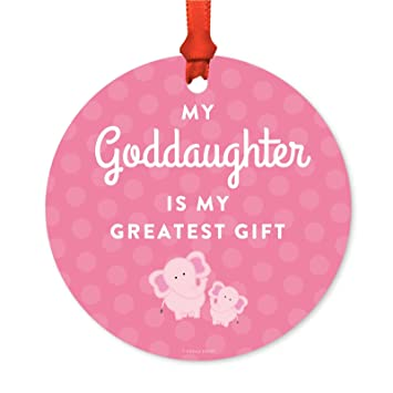 Andaz Press Family Metal Christmas Ornament My Goddaughter Is Greatest Gift Elephants