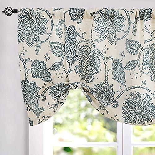 """jinchan Floral Printed Tie-up Valance 1 pc 20"""" Teal"""