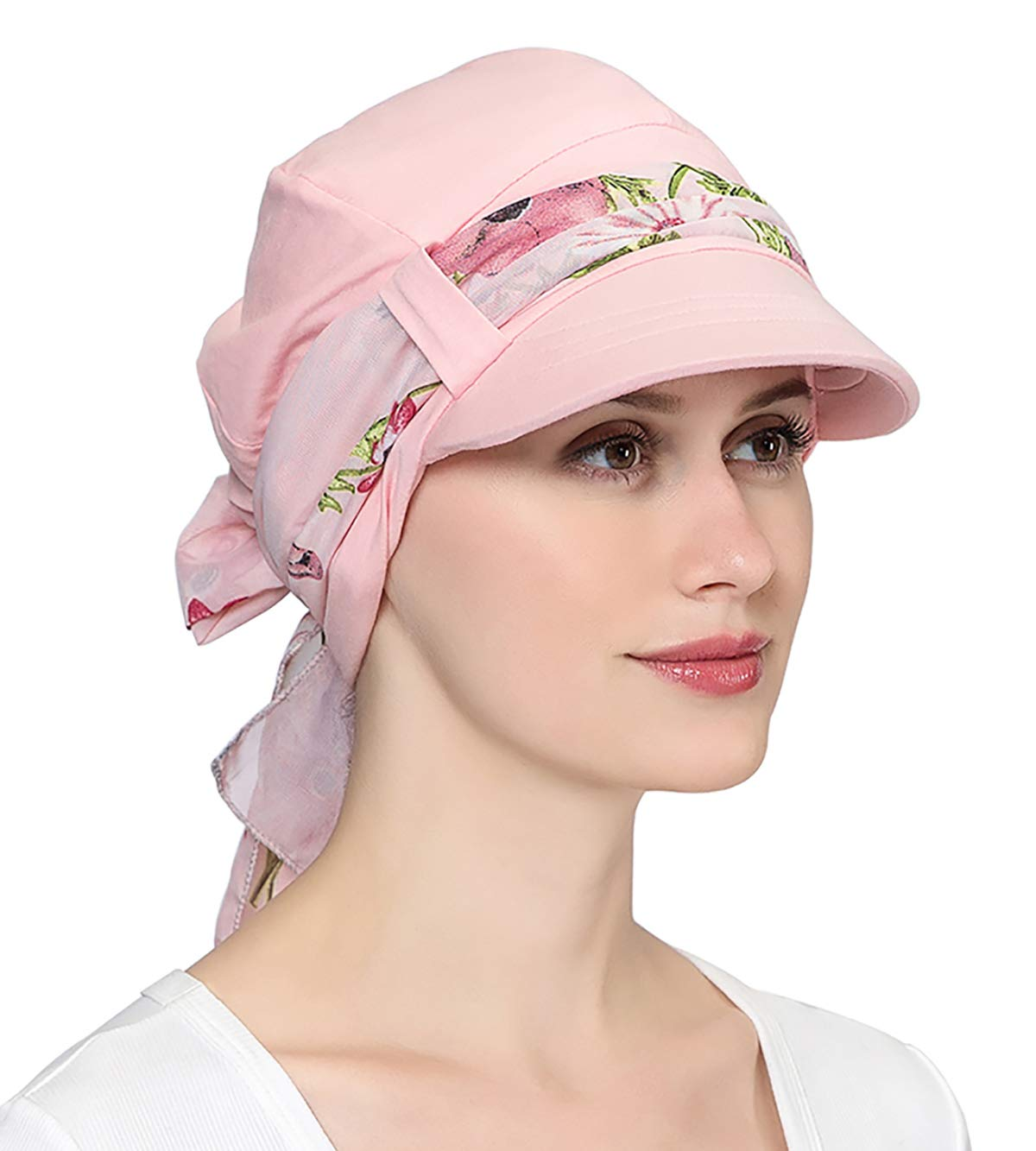 Visor Chemo Hat with Silky Scarf Sets for Women with Chemo Hair Loss Turbans(Light Pink, One Size Fit Most)