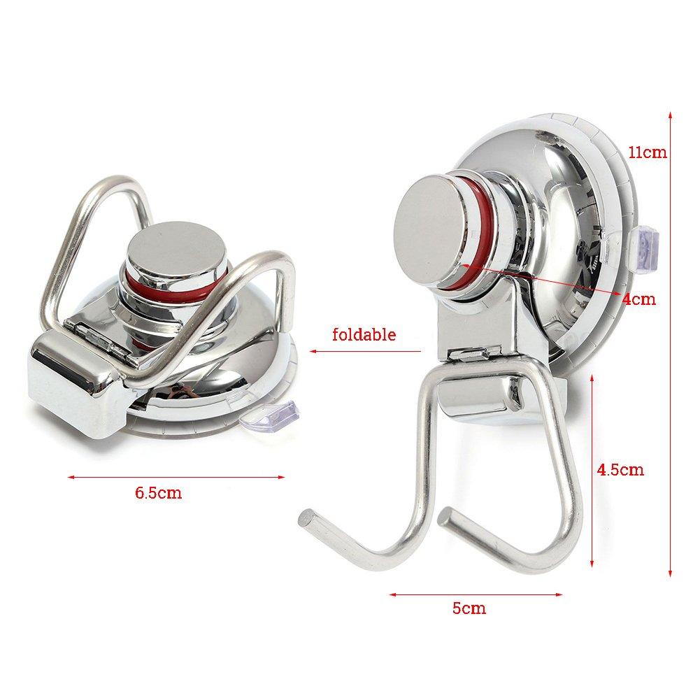 Vakuum Saugnapf Doppelt Haken - Pasway Heavy Duty Anti-Rutsch Super leistungsstarke 304 Edelstahl Doppelhaken für Bad & Küche, Chrom, Handtuch Aufhänger Lagerung (2 PACK)
