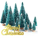 KUUQA 36Pcs Mini Sisal Snow Frost Christmas Trees Bottle Brush Trees Plastic Winter Snow Ornaments Tabletop Trees with Merry Christmas Letters for Xmas Party Home Party Diorama Models