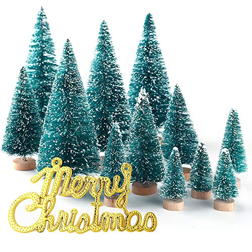 KUUQA 36Pcs Mini Sisal Snow Frost Christmas Trees Bottle Brush Trees Plastic Winter Snow Ornaments Tabletop Trees with Merry Christmas Letters for Xmas Party Home Party Diorama Models from KUUQA