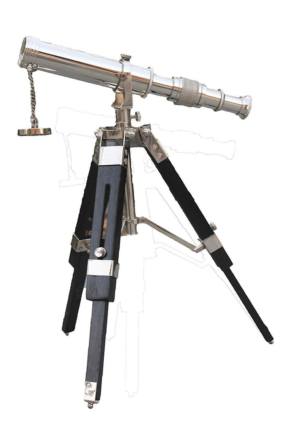 Arsh Nautical Brass Antique Chrome Telescope Double Barrel with Black Tripod Stand