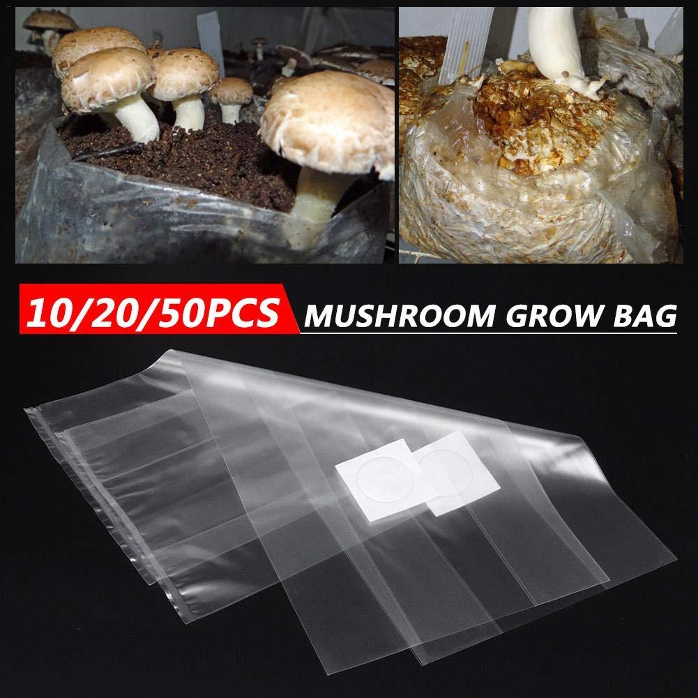 50PCS Fungo da Sforzo Borsa da Coltivazione di Funghi Commestibili Borsa da Orticoltura Borsa in PVC Traspirante Resistente Ai Batteri Ad Alta Temperatura equival Sacco di Crescita 10//20