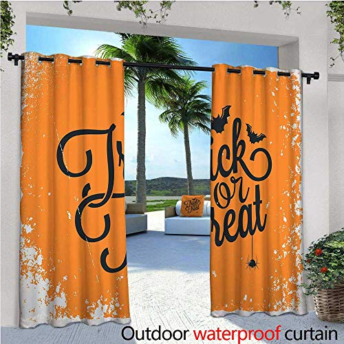 Vintage Halloween Outdoor Privacy Curtain for Pergola Trick or Treat Halloween Theme Celebration Image Bats Tainted Backdrop Thermal Insulated Water Repellent Drape for Balcony W84