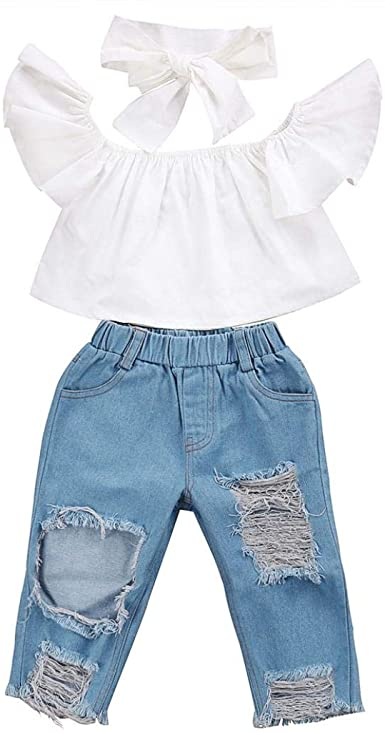 Toddler Kids Baby Girls Summer Clothes Striped Tops+Ripped Pants Clothes Outfits