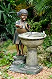 "29"" Young Girl and Feathered Friends Outdoor Patio Garden Bird Bath Water Fountain"