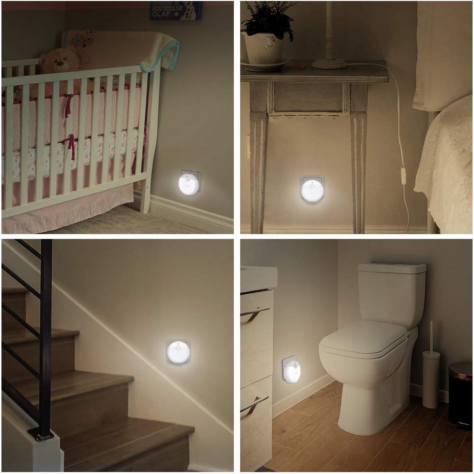 Escaliers 3 modes Lampe Nuit pour Chambre B/éb/é Lot de 3 TECKNET Veilleuse LED Garage et Couloir Blanc Chau Veilleuse Enfant Prise europ/éenne avec D/étecteur de mouvement et Capteur de Lumi/ère